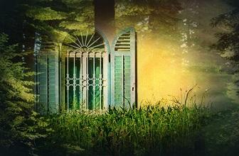 casa ventana jardin mitico surreal pixabay