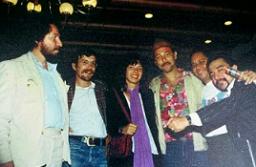 """Cesar """"Pagano"""" Villegas, Juan Gaviria, Berta Quintero, Rubén Blades, Bomberito Zarzuela, Sigifredo Farfán. 1981."""