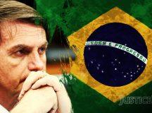 Jakob Reimann. Bolsonaro Brasilien.  Based on Agência Brasil Fotografias, Flickr, licensed under CC BY 2.0 (edited by Jakob Reimann, JusticeNow!). bit.ly/340K9r0. License Creative Commons bit.ly/1dsePQq